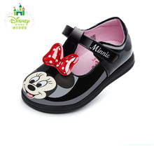 Disney Princess Baby Toddler Shoe Autumn Minnie Cute Bowknot Toddler Shoes Baby Girls PU Leather Shoes Size14-16 DH0206(China)