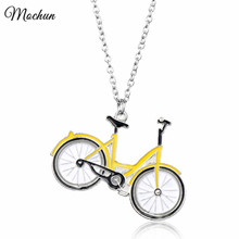 MQCHUN New Silver-Color Long Chain Necklace bijoux Lovely Yellow Enamel ofo Bicycle Pendant Fashion Women Jewelry collier femme