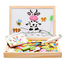 Hot Selling Toy Multi-Color Writing Board Animal Puzzle Magnetic Children 3D Double-Sided Sketchpad Educational Wooden Toys