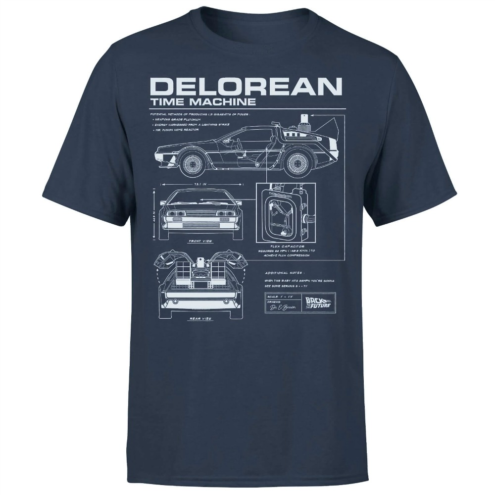 Back To The Future DeLorean Schematic T-Shirt - Navy Cool Casual pride t shirt men Unisex New Fashion tshirt Loose Size