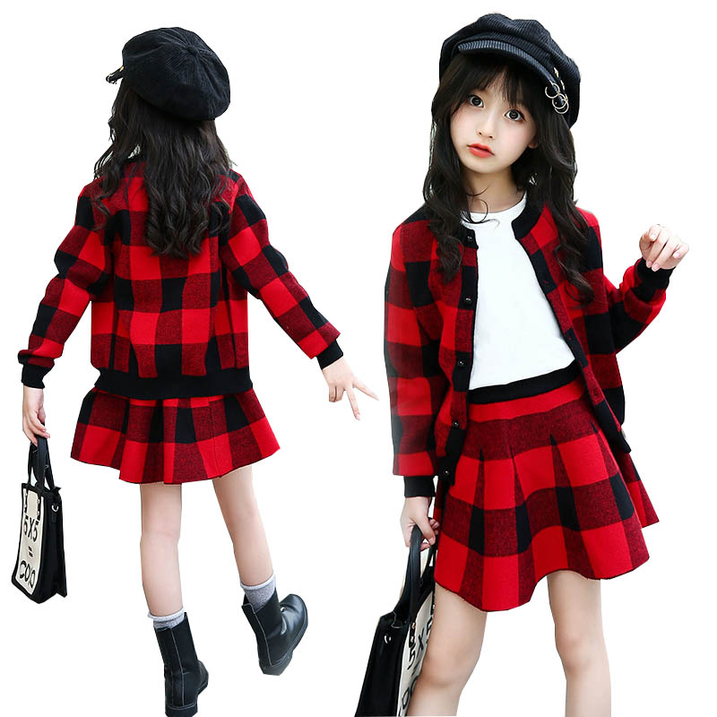 Teenage girls clothing set kids tracksuit for girls wool plaid skirt suit autumn winter school girls clothes children clothes