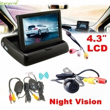 Cls Top Sell Night Vision 4.3 Car Rear View Monitor Wireless Car Backup Camera Parking System Kit Aug 10(China)