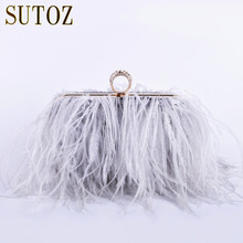 Ostrich Feathers Handmade Clutch Evening Bags Women's Pouch Purse Lady's Handbags Diamond Luxury Clutch Party Messenger BA379(China)