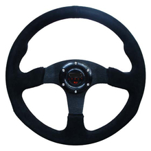 Hsanzeo 14inch 350mm momo Steering Wheel Car Auto Racing Steering Wheel Nubuck Suede Black Stitch Leather Steering Wheel(China)