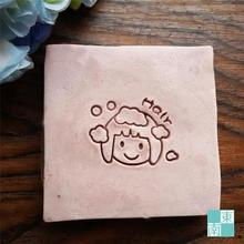 Free shipping Lovely Girl Hair Soap Chapter Natural Soap Handmade Soap Mini DIY Soap Stamp 3cm*3cm