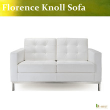 U-BEST White leather modern classic contemporary reproduction retro furniture Florence Knoll Loveseat,Knoll 2 Seater Sofa(China)