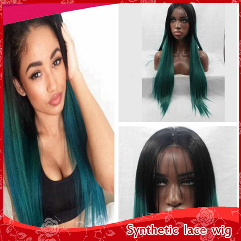 Cheap Fashion Ombre Black to Dark Green Straight long hair Quality Synthetic Lace Front Wigs Heat Resistant wigs for black women<br><br>Aliexpress
