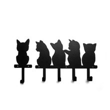 Black cat design Metal Hook Wall Door Mounted Rustic Clothes Coat Hat Key Hanging Decorative Wall Hook Bathroom Accessories