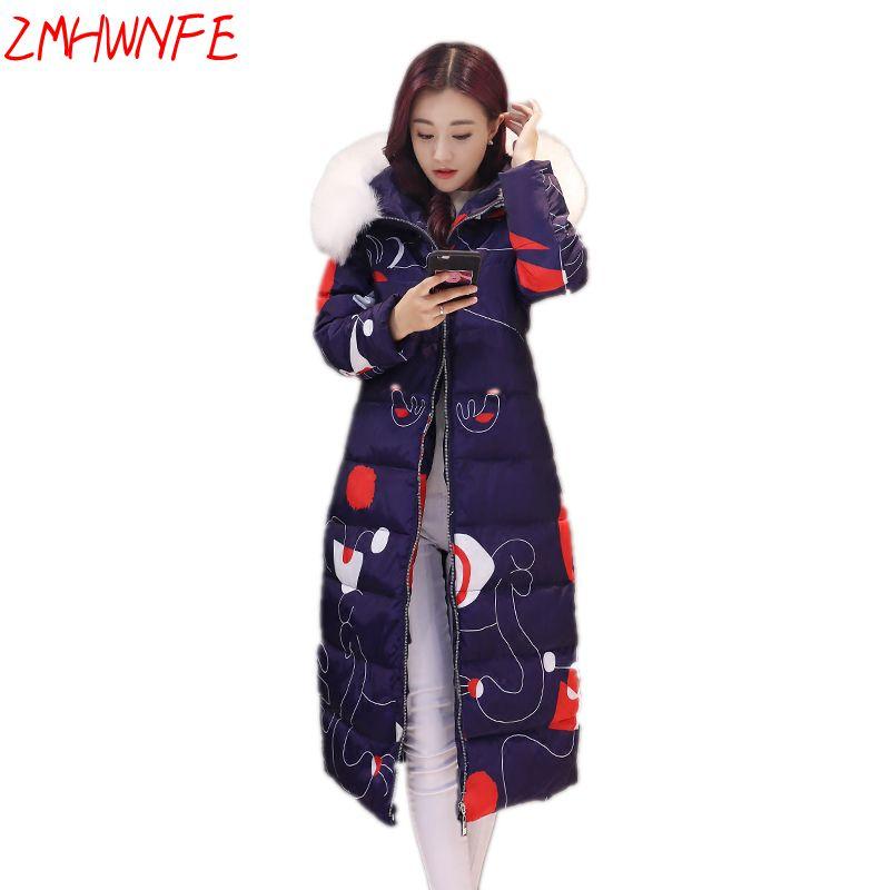 2017 Limited New Arrival Winter Jacket Cotton Women Long Section Thickening Large Size Coat Printing Hooded Collar Windbreaker Îäåæäà è àêñåññóàðû<br><br>