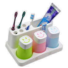 Free Shipment Toothbrush holder bathroom shelf rack suit wash brush cup shukoubei toothpaste holder cup couples dental tool box(China)