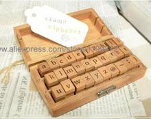Free DHL Shipping 50sets 30pcs/set DIY Lowercase Uppercase Alphabet Rubber Stamp Vintage Wood Stamps Letters Number Wooden Box(China)