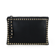 Women Rivet Clutch Famous Brand PU Leather Hand Bag Teenage Girls Black Red Day Clutches Casual Big Wallet bolso Luxury XA189H