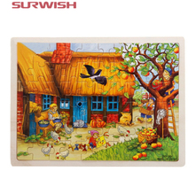 Surwish 60-Piece Apple Tree House Wooden Jigsaw Puzzle Baby Kids Children Educational Toy(China)