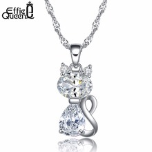 Effie Queen 2017 Lovely Cat Design Necklace Brilliant Cubic Zircon 2 Color Pendant Necklace for Girls and Women DN77(China)