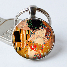 Gustav Klimt The Kiss Keychain Retro Art Jewelry Valentine Gift Cabochon Glass Romantic Lovers Gift Key Chain Ring(China)