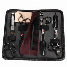 Portabble And Durable Black Steel Professional Pet Scissors Kit Sharp Edge Dog Cat 4pcs Grooming With Storage Bag