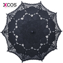 Classic Noble Elegant Palace Style Long Arm Wedding Bridal Umbrella Embroidery Gingham Lace Parasol Sun Umbrella SA859(China)