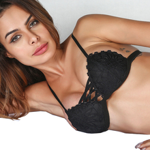 Hot Selling Fashion Sexy Floral Black Lace Bra Female Lingerie Ultra-Thin Cross Bandage Brassiere Full Soft Cup Back Closure
