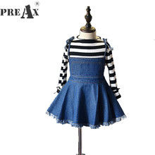 Girls Clothing Set 2018 Spring New Baby Girl Stripe T Shirt+denim Harness Skirt Suits Kids 2pcs Fashion Suits Childrens Clothes(China)