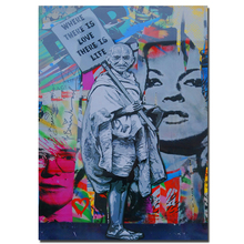 Abstract Banksy 'Where there is love,there is life' Pop Canvas Painting Graffiti Man Hold A Sign Home Decor Wall Art Print(China)