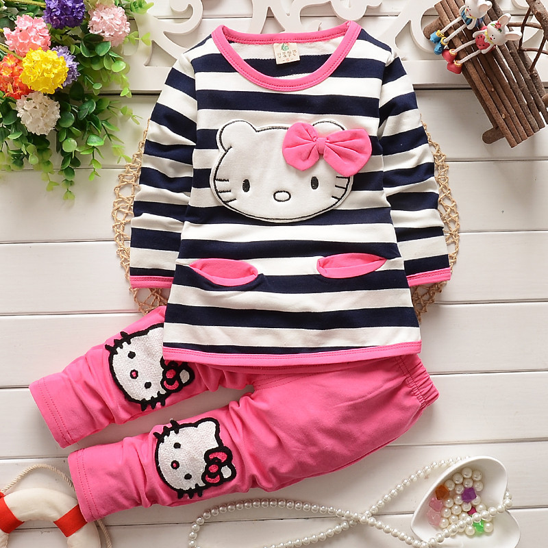 Spring 2015 New Childrens Clothing Girls Striped T-shirt + pants cartoon kitty cat bow striped long-sleeved suit KT free ship<br><br>Aliexpress