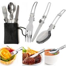 3pcs/set Folding Picnic/Traveling/Hiking/Camping Cutlery Utensils Portable Outdoor Tablewares Dinnerware Knife/Fork/Spoon