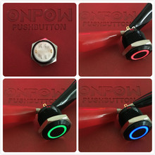ONPOW 16mm Tri-color RGB Momentary ring LED illuminated Black alloy Push Button Switch (GQ16F-10E/J/RGB/6V/A) CE,ROHS