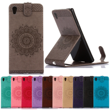 for Z3 Z5 mini Compact Case Luxury Emboss Datura flower Flip Vertical Wallet Shell for Sony Xperia X XP X Performance XA Coque