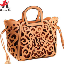 Atrra-Yo famous brands women handbags hollow out women messenger bags ladies tasssel tote bolsas fashion bag bolsa LS5024ay