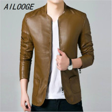 AILOOGE Leather Jackets Men Solid Casual Outerwear Windbreaker Coats Male Soft Slim Fit Spring Fashion Mens Jackets an Coats