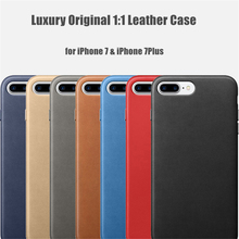 For iPhone 7 7Plus Plus Luxury High Quality Original Leather Case Official Design Metal Button Slim Protection Back Phone Cover
