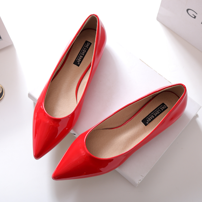 Size 40 Pointy Toe Shallow Mouth Black Pink Red Nude Color Patent Leather Women Fashion Elegant OL Flats Shoe Discount Shoes<br><br>Aliexpress