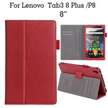 Tab3 8 plus Flip PU Leather Case Slim Tablet Case Cover Fundas For Lenovo Tab3 8 plus P8 TB-8703F 8'' Protective Stand Card Slot