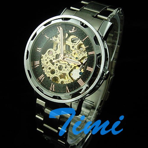 wholesale Mens Black Steel Luxury AUTOMATIC Watch Gold Skeleton<br><br>Aliexpress