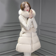 Highlight the temperament jacket 2017 girls long hair collar  slim fashion jacket winter thick gorgeous princess dress style