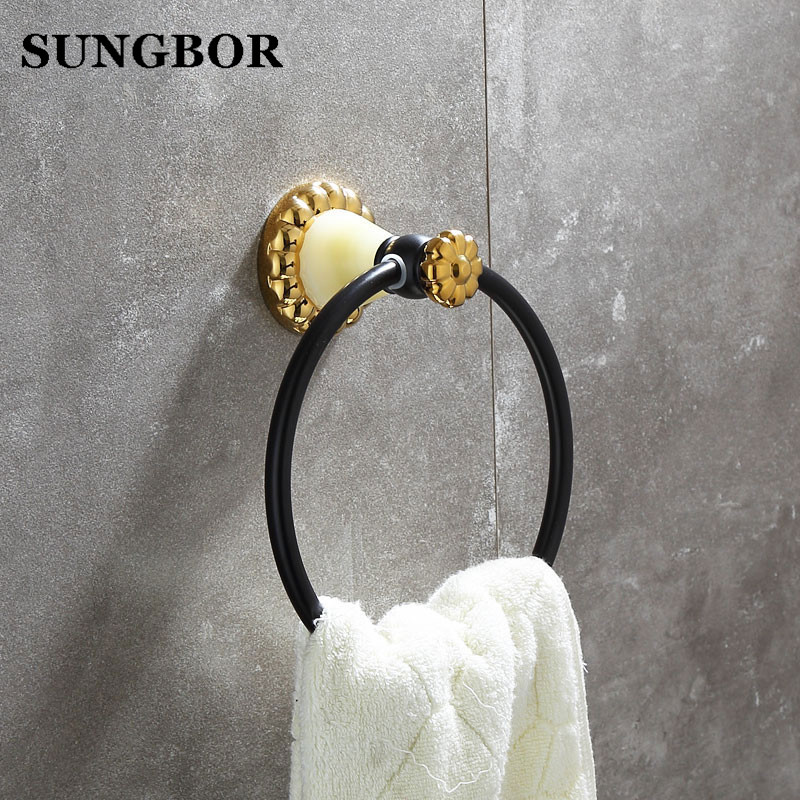 Free Shipping Wholesale and Retail Unique Design Jade Golden Towel Ring Wall Mounted Brass Towel Holder Bathroom Towel Rack<br>
