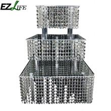 EZLIFE Luxury Three Layers Of Square Acrylic Cake Rack Layered Dessert Cake Rack Cupcake Stands DHA9147