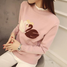 Lace Patchwork Swan Embroidery Women Pullovers Korean Autumn Winter New Fashion Sweaters Plus Size Long Sleeve Knitwear 62859