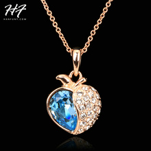 N050 Love Expression Blue Rose Gold Color Fashion Pendant Jewelry Made with Austria Crystal SWA Elements Wholesale
