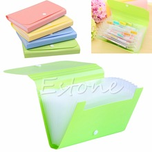 New 1pc Plastic candy color Document bag file folder Expanding wallet bill folder Small size 17.8*12*2.5cm