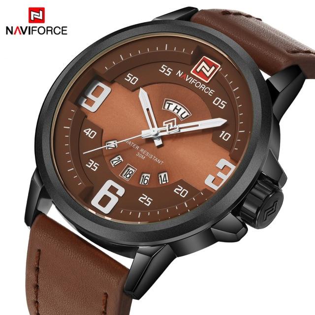 Luxury Top Brand NAVIFORCE Men Sports Watches Army Military Leather Mens Quartz Watch Clock Waterproof Relogio Masculino <br><br>Aliexpress