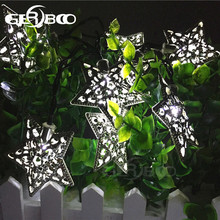 Solar String Lights Outdoor Waterproof 10 LED Lamp Five-Pointed Star Wrought Iron Halloween Decorative Christmas Lights 2PCS/LOT