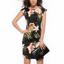 New Arrivals Female Vestidos Fashion Dress Sleeveless Summer Dresses Apparel Pencil Elegant Design Women Flowers Clothes S154(China)