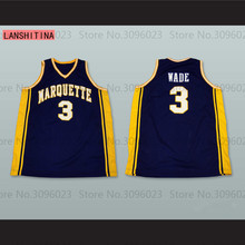 LANSHITINA DWYANE WADE Marquette University Navy Blue Basketball Jersey Embroidery Stitched Customize any size and name Shirt