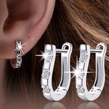 TOMTOSH 1Pair Silver Nice White Crystal Silver Brincos Ouro Women's  Earrings For Women Earring Jewelry Gift