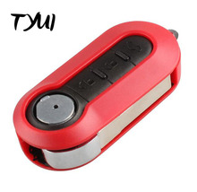 10pieces/lot Red 3 Buttons Car Key For Fiat 500 Flip Remote Key Fob Case Replacements With Logo