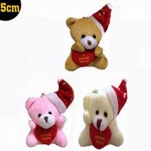 Christmas Gifts! 5CM Lovers Plush Christmas Teddy Bear MiNi toys pendant/decorations/wedding gifts 50pcs/lot Plush Animals t(China)