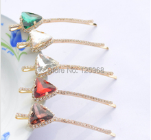 Free Shipping!New Hot Sale Big Rhinestone Triangle Hair Barrettes Hairclips For Women/Girls Elegant Barrettes Hair Accessory