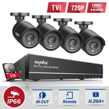 SANNCE 4CH CCTV System 1080P HDMI DVR Kit 4PCS 720P 1.0MP Security Cameras 1200TVL Surveillance System 1TB HDD
