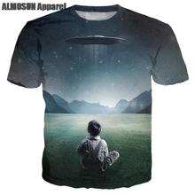 ALMOSUN Child UFO Alien Galaxy 3D All Over Print T Shirts Short Sleeve Funny Summer Fahsion Hip Hop Tee Unisex Drop Ship